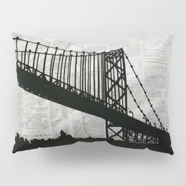 News Feed , Newspaper Bridge Collage Pillow Sham