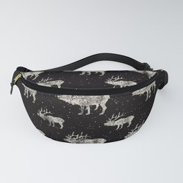 Moose in Winter Snow on Black - Wild Animals - Mix & Match with Simplicity of Life Fanny Pack