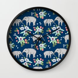 Elephants pattern navy blue with florals cute nursery baby animals lucky gifts Wall Clock