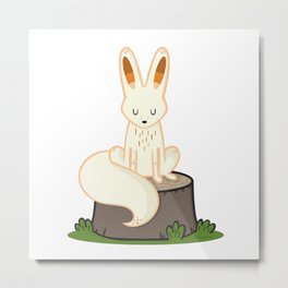 Fox on a Tree Stump Metal Print