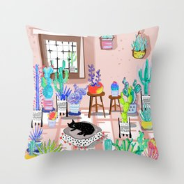 cat in my room illustration 1 Throw Pillow