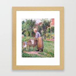 Camille Pissarro A Washerwoman at Éragny Framed Art Print