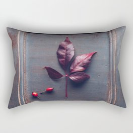 Wooden frame with an dried leaf Rectangular Pillow