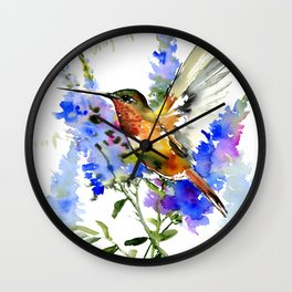 Alen's Hummingbird and Blue Flowers, floral bird design birds, watercolor floral bird art Wall Clock