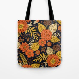 Retro Orange, Yellow, Brown, & Navy Floral Pattern Tote Bag