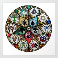 magic the gathering Art Prints featuring Magic the Gathering - Stained Glass by omgitsmagic