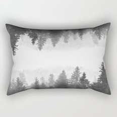 Black and white foggy mirrored forest Rectangular Pillow