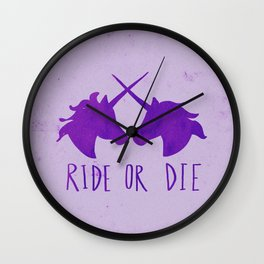 Ride or Die x Unicorns x Purple Wall Clock