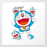 doraemon Art Prints featuring Doraemon by Timeless-Id