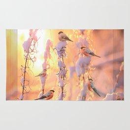 Bullfinch Birds In Sunny Winter Morning #decor #society6 Rug