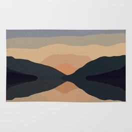Sunset Mountain Reflection in Water Rug