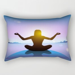 Yoga Studio Calming Purple / Blue Padmasana Pose Rectangular Pillow