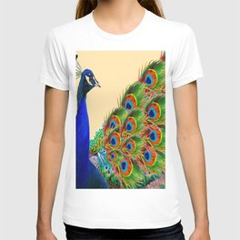 BLUE PEACOCK CREAM COLOR ART T-shirt