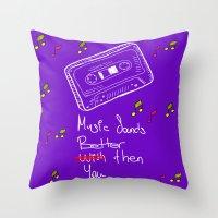 cassette Throw Pillows featuring Cassette by Melis Kalpakçıoğlu