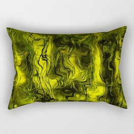 Nervous Energy Grungy Abstract Art In Black and Yellow Rectangular Pillow