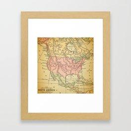 North America Vintage Map Framed Art Print