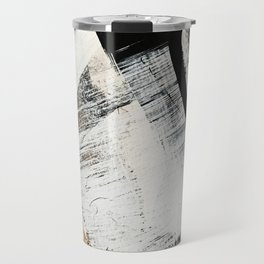 Armor [9]: a minimal abstract piece in black white and gold by Alyssa Hamilton Art Travel Mug