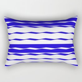 Blue and White WAVE Pattern abstract blue Rectangular Pillow