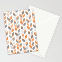 Modern Rectangle Print with Retro Abstract Leaf Pattern Stationery Cards