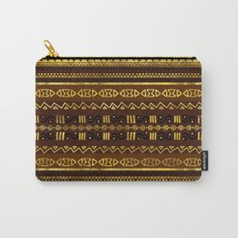 Ethnic African Golden Pattern on brown Carry-All Pouch
