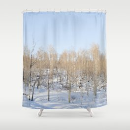 Snowfall and treetops Shower Curtain