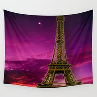 eiffel tower Wall Tapestries featuring Eiffel Tower  by Elena Indolfi