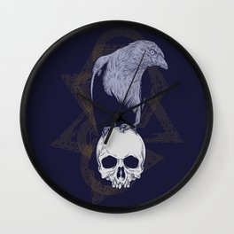 Dark Vintage Styled Macabre Crow and Skull Ponder Life Wall Clock