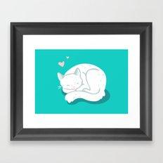 White Kitty Framed Art Print
