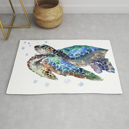 Sea Turtle, Green Blue, sea turtle under water, sky blue Rug
