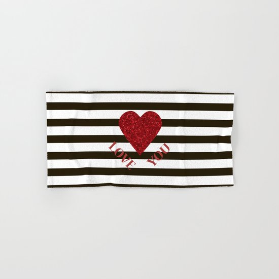 love you valentine print red glitter heart and black stripes congratulation card hand bath - Red And Black Print Bath Towels