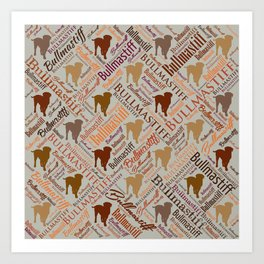 Bullmastiff Dog Word Art pattern Art Print