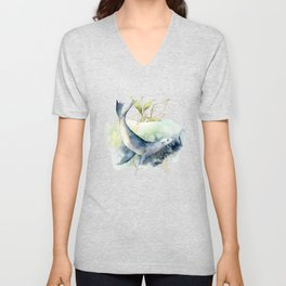 Watercolor Under Sea Collection: Seal Unisex V-Neck