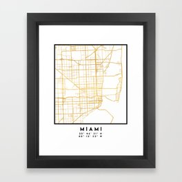 MIAMI FLORIDA CITY STREET MAP ART Framed Art Print