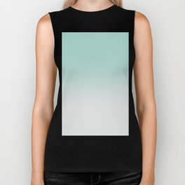Ombre Duchess Teal and White Smoke Biker Tank