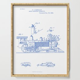 Smoke Consuming Locomotive Vintage Patent Hand Drawing Serving Tray