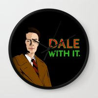 dale cooper Wall Clocks featuring DALE WITH IT. by Chris Piascik
