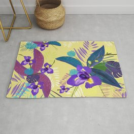 Iris Flower Purple Tropical Leaves Pattern With Yellow Background Rug