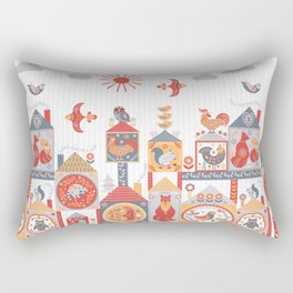 Small fairy-tale houses with cute animals and birds. Rectangular Pillow