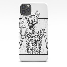 Skeleton Drinking a Cup of Coffee iPhone Case