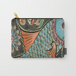 bohemian folk art orange aqua blue japanese good luck koi fish Carry-All Pouch
