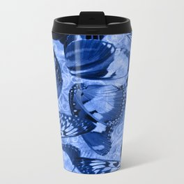Blue Exotic Butterfly Wings and Scroll Collage Metal Travel Mug
