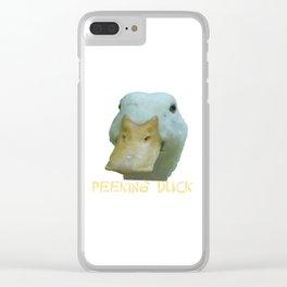 Peeking Duck With Fun Oriental Text Clear iPhone Case