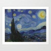 Polygon Starry Night Art Print