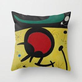 Joan Miro Vol Doiseaux, 1968, Flight of Birds Encircling the 3 Haired Woman on a Moon, Artwork, Prin Throw Pillow