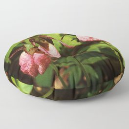 Pink Lady's Slippers Trio Floor Pillow