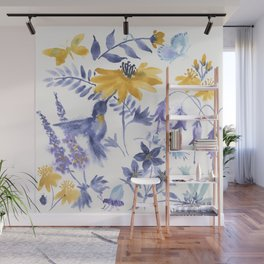Blue and Yellow Garden Snippets Wall Mural