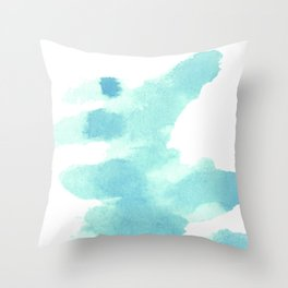 Blue, turquoise water cloud. Colorful watercolor painting Throw Pillow