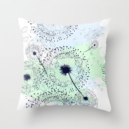 Dandelion field. Beautiful and soft vector watercolor Throw Pillow