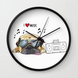I love music-rock pug dog Wall Clock