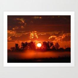 Flaming Horses over the Foggy Sunrise Art Print